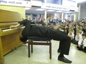Piano tricks during visit to St Joseph's R.C. Primary, first stop on the Schools Piano Tour 2014